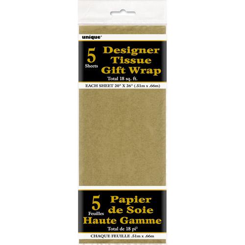 Metallic Gold Tissue Paper Sheets, 5pk