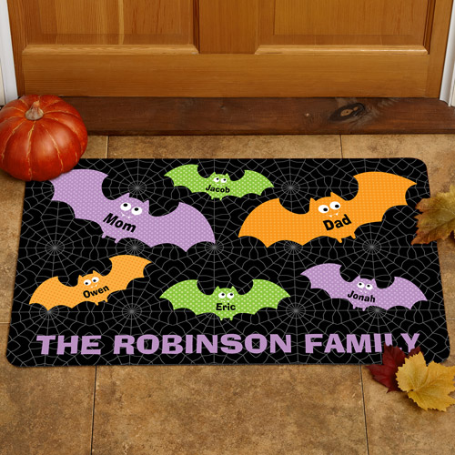"Personalized Halloween Bats 24"" x 36"" Doormat"
