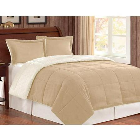 Corduroy berber fleece down alternative 3 piece comforter set tan king cal king - Corduroy bedspreads ...