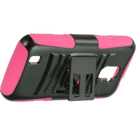 ZTE Source Case, by Insten Hybrid Hard Plastic/Silicone Dual Layer Case Skin with Holster For ZTE Source - Black/Hot Pink - image 2 of 5