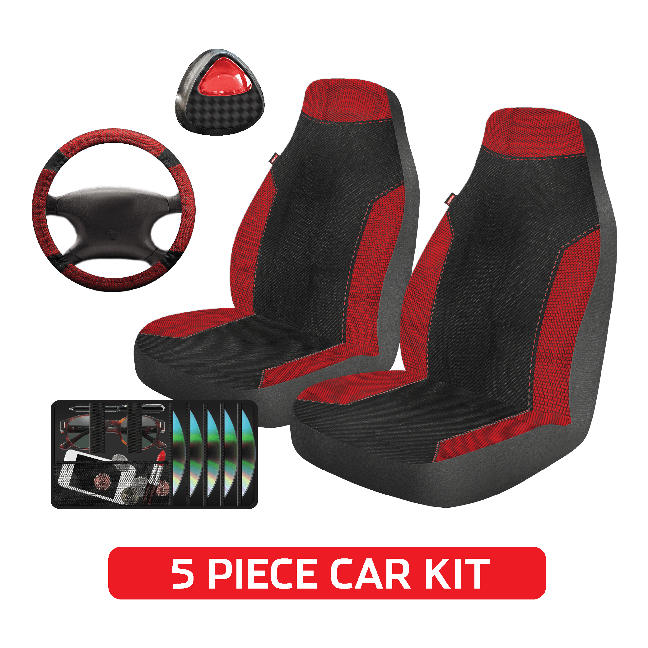 Auto Drive Universal 5-Piece Seat Cover and Steering Wheel Kit