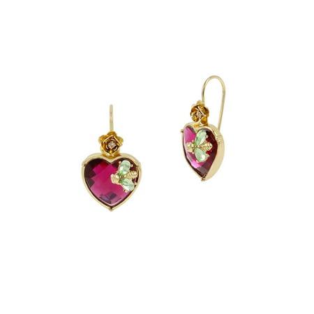 Flat Out Floral Stone Heart Drop Earrings Opal Flat Drop
