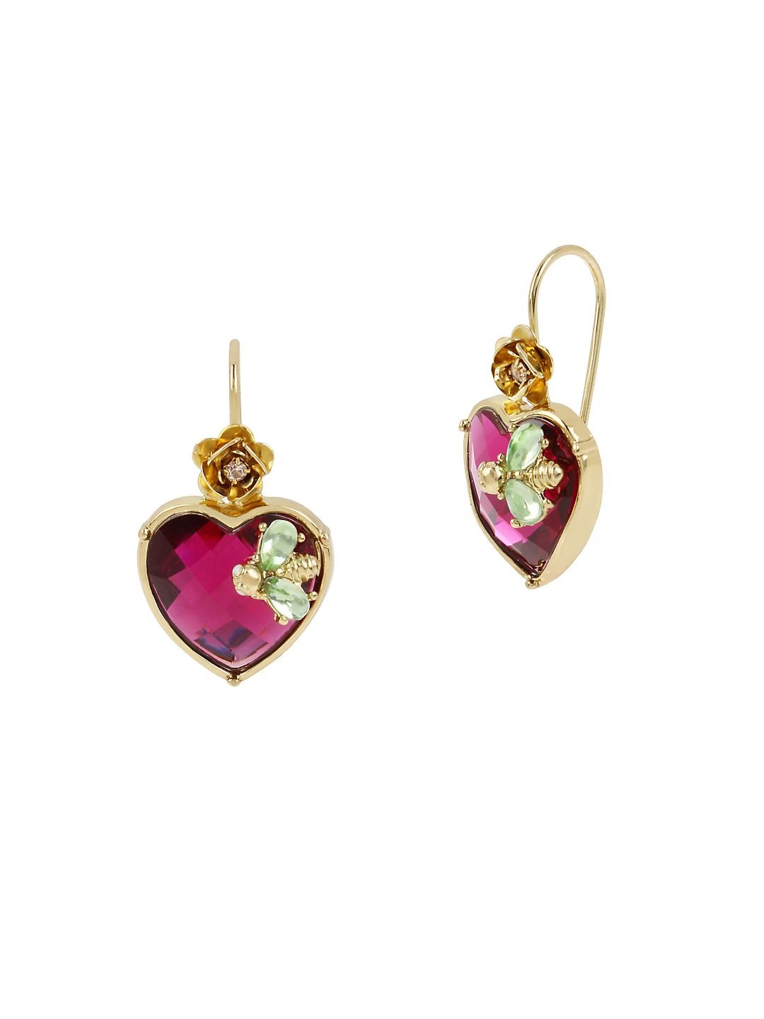 Flat Out Floral Stone Heart Drop Earrings