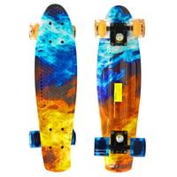 "22"" Skateboard Complete Street Retro Cruiser Flames Print Deck"