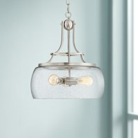 "Franklin Iron Works Charleston 16"" Wide Satin Nickel 3-Light LED Pendant Light"