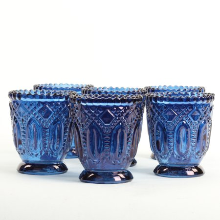 Koyal Wholesale Navy Blue Vintage Glass Candle Holder (Pack of 6), 3 x 2.75