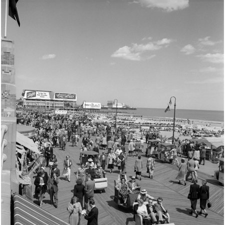1950s Crowd People Men Women Children Boardwalk Atlantic City Nj Usa Poster Print By Vintage (Atlantic City With Kids)