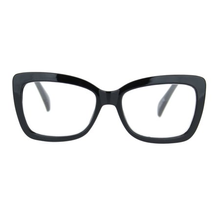 Womens Rectangle Butterfly Shape Plastic Fashion Reading Glasses Black +1.25