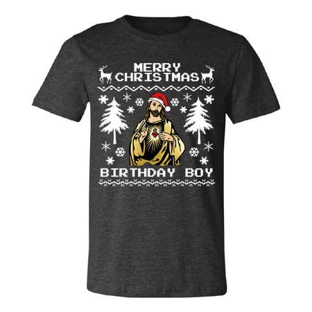 Jesus Happy Birthday Merry Christmas Men's T-shirt Ugly Christmas Tee Dark Grey Heather Small](Ugly Birthday)