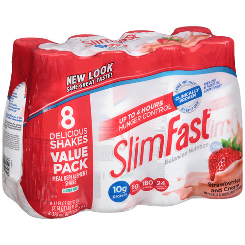 SlimFast Strawberries and Cream Meal Replacement Shakes, 11 fl oz, 8 count