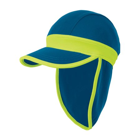 Hat With Light (Sun Smarties Royal Blue and Lime Green Baby Sun Hat - With Flap Shield for Neck and Ears - Small, 12-24)