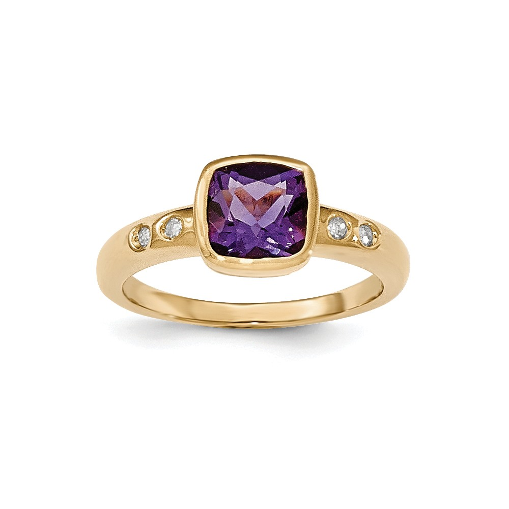 14K Yellow Gold (0.04cttw) Diamond and Purple Amethyst Bezel-Set Ring Size-7 by