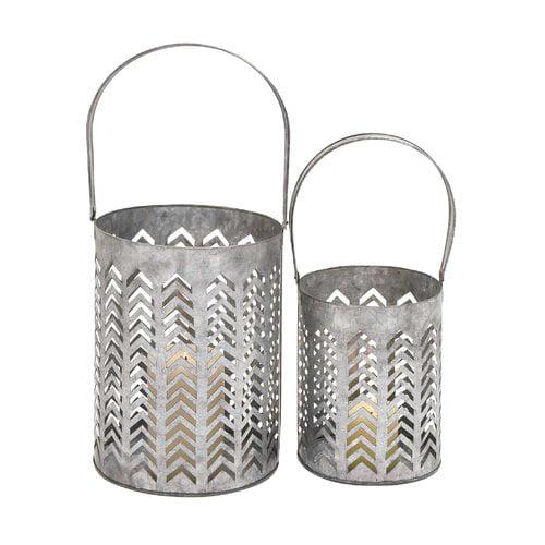Woodland Imports 2 Piece Metal Lantern Set by BENZARA