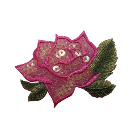 ID 6161 Pink Sequin Rose Flower Patch Love Blossom Embroidered Iron On Applique