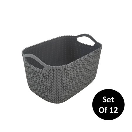 Homz Small Decorative Storage Rattan Bin, Grey, Set of 12 ()
