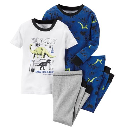 Carters Baby Clothing Outfit Boys 4-Piece Glow-In-The-Dark Cotton Dinosaur PJs Fossil Expert (Dinosaur Outfits)