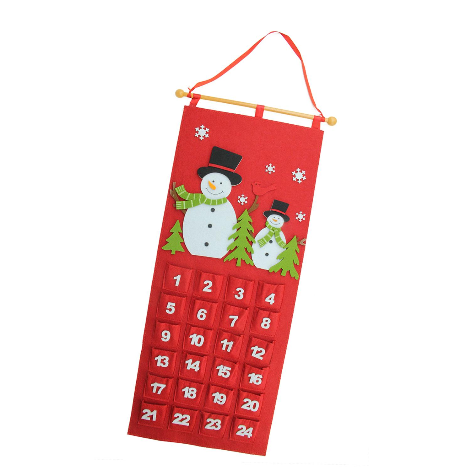 "27.5"" Red and White Decorative Felt Snowman Advent Calender Hanging Christmas Decoration"