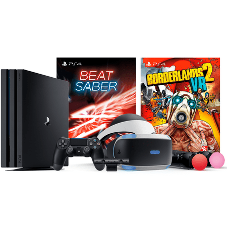 Playstation Borderlands 2 VR Beat Saber Console Bundle: Playstation 4 PRO 4K HDR 1TB Gaming Console with PSVR Borderlands 2 VR (PS4 PRO Enhanced Available) and Saber Beat