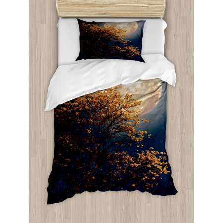 Moon Twin Size Duvet Cover Set  Beautiful Retro Tree With Blooming Yellow Flowers Elements From Milky Way Galaxy  Decorative 2 Piece Bedding Set With 1 Pillow Sham  Dark Blue Orange  By Ambesonne