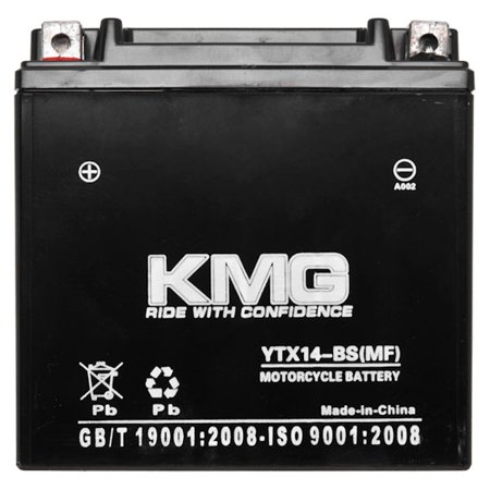 Suzuki 700 LT-V700F Twin Peaks 2004-2005 YTX14-BS Sealed Maintenace Free Battery High Performance 12V SMF OEM Replacement Maintenance Free Powersport Motorcycle ATV Scooter Snowmobile KMG - image 2 of 3