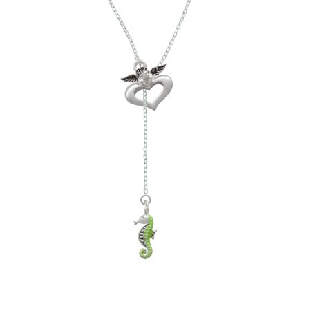 Green Seahorse - Guardian Angel Lariat Necklace - Guardian Angel Necklace