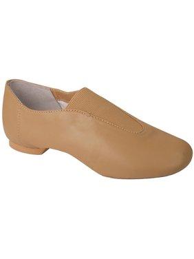 Girls Beige Leather Gore Split Sole Slip-On Jazz Shoes 1-4 Kids