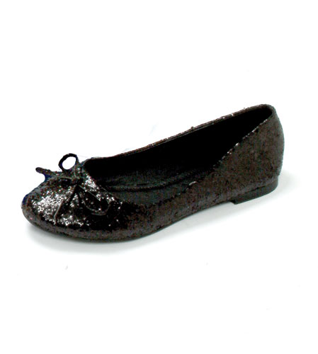Mila Adult Flats With Bow - Black Glitter Womens Shoes