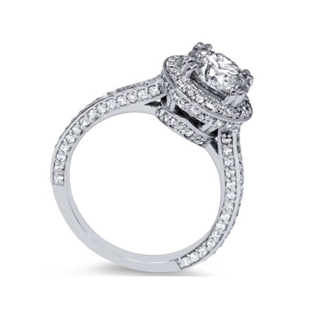2 1/5ct Halo Micropave Heirloom Diamond Engagement Ring 14K White Gold - image 1 of 3