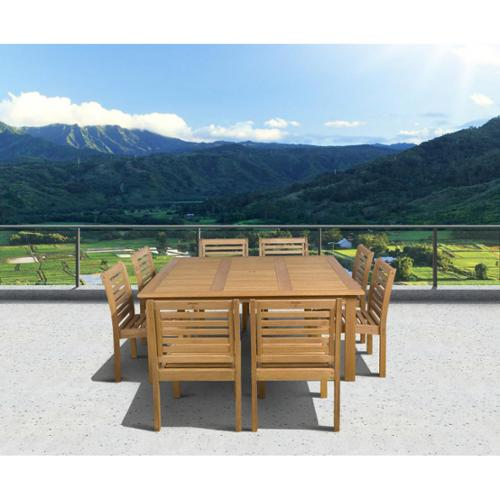 Amazonia  Amelia 9-piece Eucalyptus Wood Square Dining Set