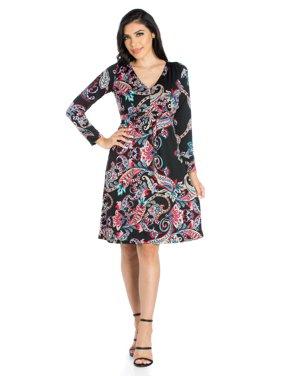 7c4d3432e33f4 Product Image 24seven Comfort Apparel Feminine Paisley Long Sleeve Knee  Length Dress