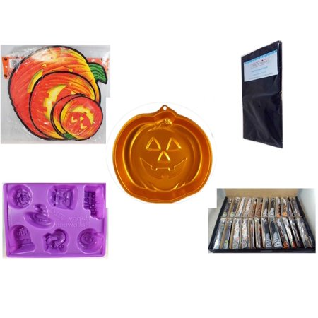 Halloween Fun Gift Bundle [5 Piece] - Classic Pumpkin Cutouts Set of 9 - Black Plastic Table Cover  - Wilton Iridescents Jack-O-Lantern Pan - Happy  Jell-O Mold - Large Box  Wooden Craft Stick Figur