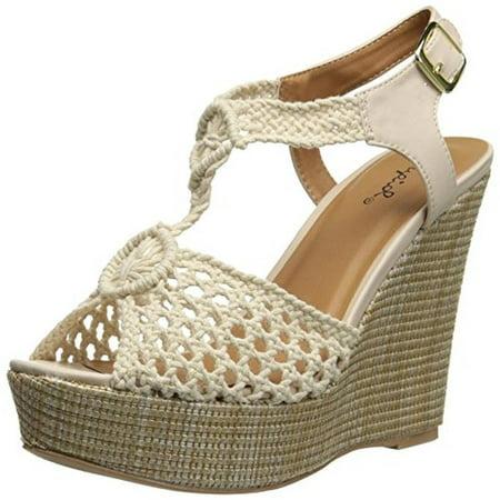 1ad1413c391 Qupid - Qupid Womens Clemence Open Toe Crochet Wedge Sandals - Walmart.com