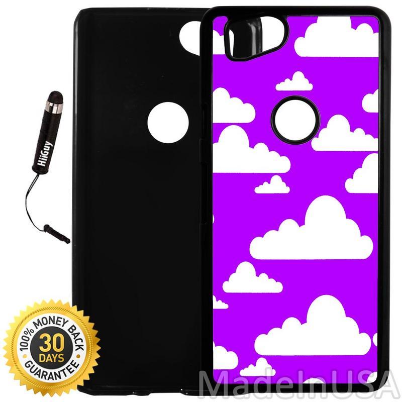 Custom Google Pixel 2 Case (Cute Clouds on Purple Sky) Plastic Black Cover Ultra Slim | Lightweight | Includes Stylus Pen by Innosub