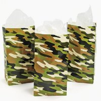 Lot of 12 Camouflage Paper Party Favor Treat Bags