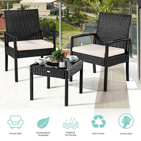 Cool 3Pcs Outdoor Rattan Patio Furniture Set Backyard Furniture Seat Cushioned Home Interior And Landscaping Mentranervesignezvosmurscom