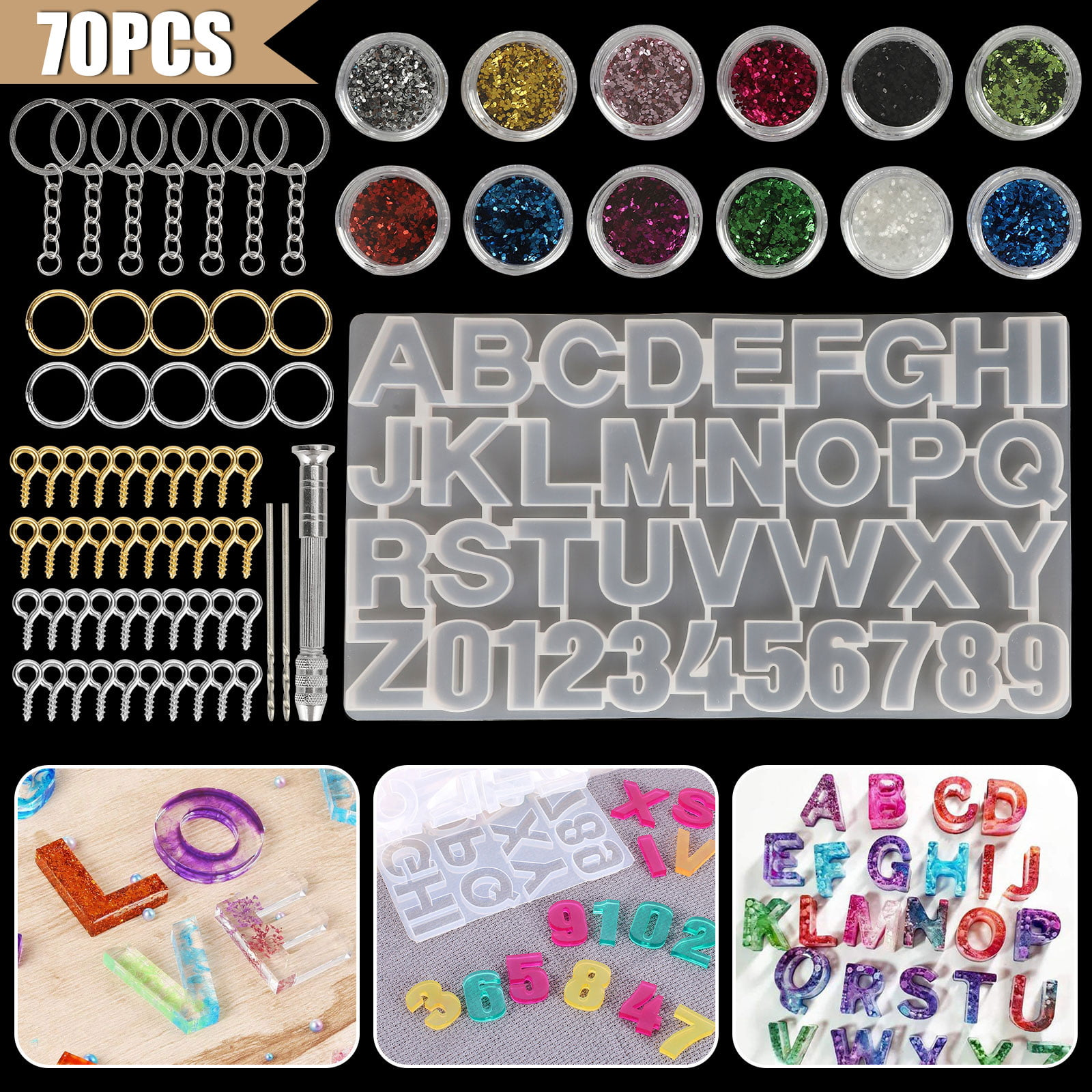 Resin Molds DIY Alphabet Silicone Molds,Letter /& Number Silicone Mold for Epoxy Resin Crafts Resin Casting Alphabet Mold