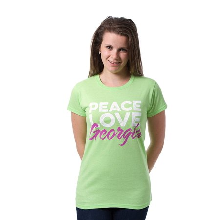 JH Design Peace Love Georgia Women's T-shirt a State Souvenir Screen Printed