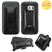 For G925 Galaxy S6 Edge Black Advanced Armor Stand Case Cover (With Holster)