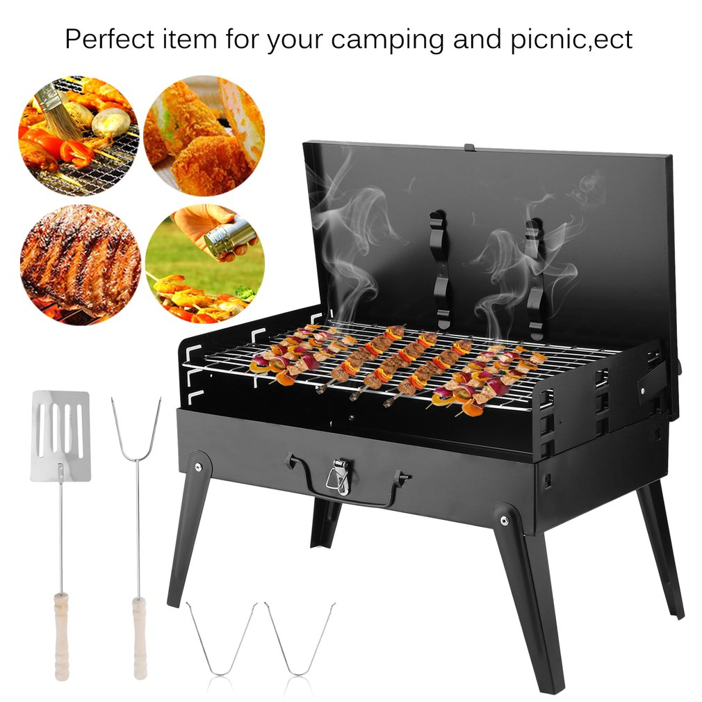 Portable Folding Charcoal BBQ Barbecue Grill Roasting Garden Party Outdoor Camping Stove With Spatula Grill Fork, Black