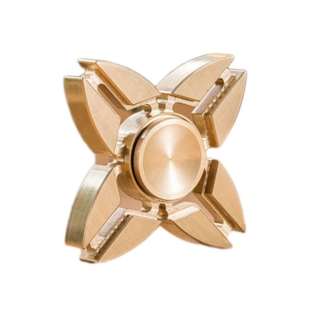 Copper Tri Spinner Fidget Hand Toy for Relieving ADHD, Anxiety, Boredom Spins for up to 1-3 Minutes Non-3D Printed - 4 Corner