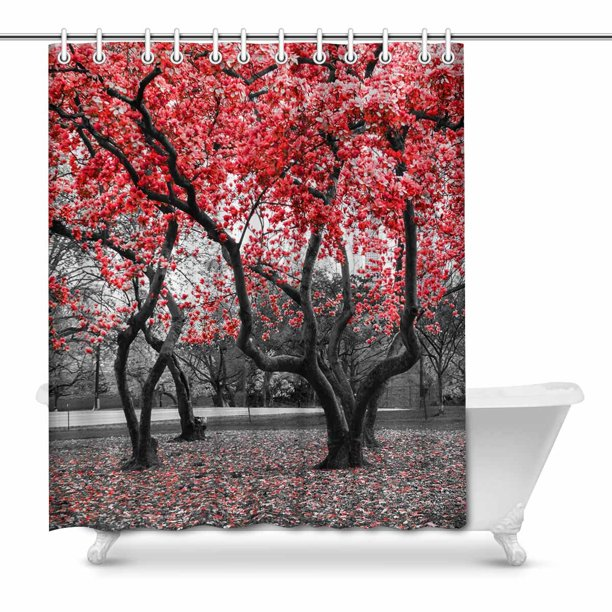 Mkhert Red Flower Trees Blossom In Black And White Landscape Home Decor Waterproof Polyester Fabric Shower Curtain Bathroom Sets 66x72 Inch Walmart Com Walmart Com