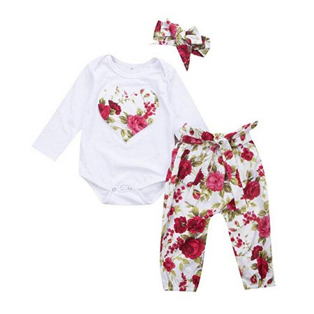 696ee5da0de3 Gaono - Baby Girl Floral Heart Peach Clothes Romper Jumpsuit Long Pants  Outfit With Headband - Walmart.com