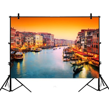 YKCG 7x5ft Venice Italy European Cityscape Gondola Floats on Grand Canal Photography Backdrops Polyester Photography Props Studio Photo Booth Props - Cityscape Backdrop