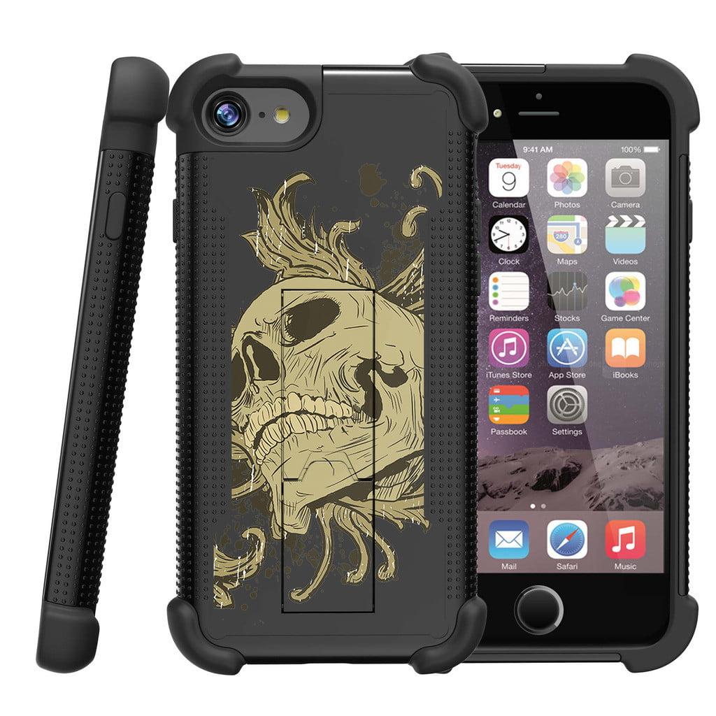"Apple iPhone 7 Plus (5.5"" model) Shockwave Armor Non-Slip Heavy Duty Dual Layer Kicsktand Case - Skull and Leaves"