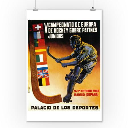 Roller Hockey Promotion Vintage Poster (9x12 Art Print, Wall Decor Travel - Vintage Hockey Decor