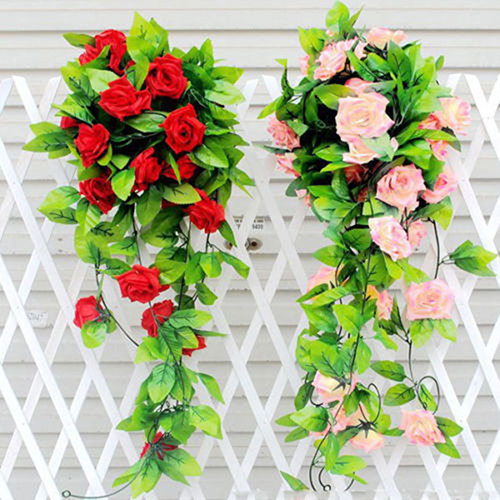 Girl12Queen Artificial Fake Silk Rose Flower Ivy Vine Hanging Garland Wedding Home Decor