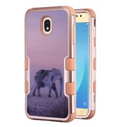 3-Layer Case for Samsung Galaxy J7 Crown / J7 aura / J7 Star / J7 Refine / J7 (2018), OneToughShield ® Hybrid Shockproof Protector Phone Case (Rose Gold Color) - Twilight Elephant