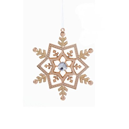 5 Rose Gold Snowflake With Clear Gem Christmas Ornament