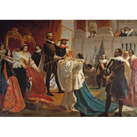 Henry The Fourth Puts His Sword In The Hand Of His Son Canvas Art     36 X 24