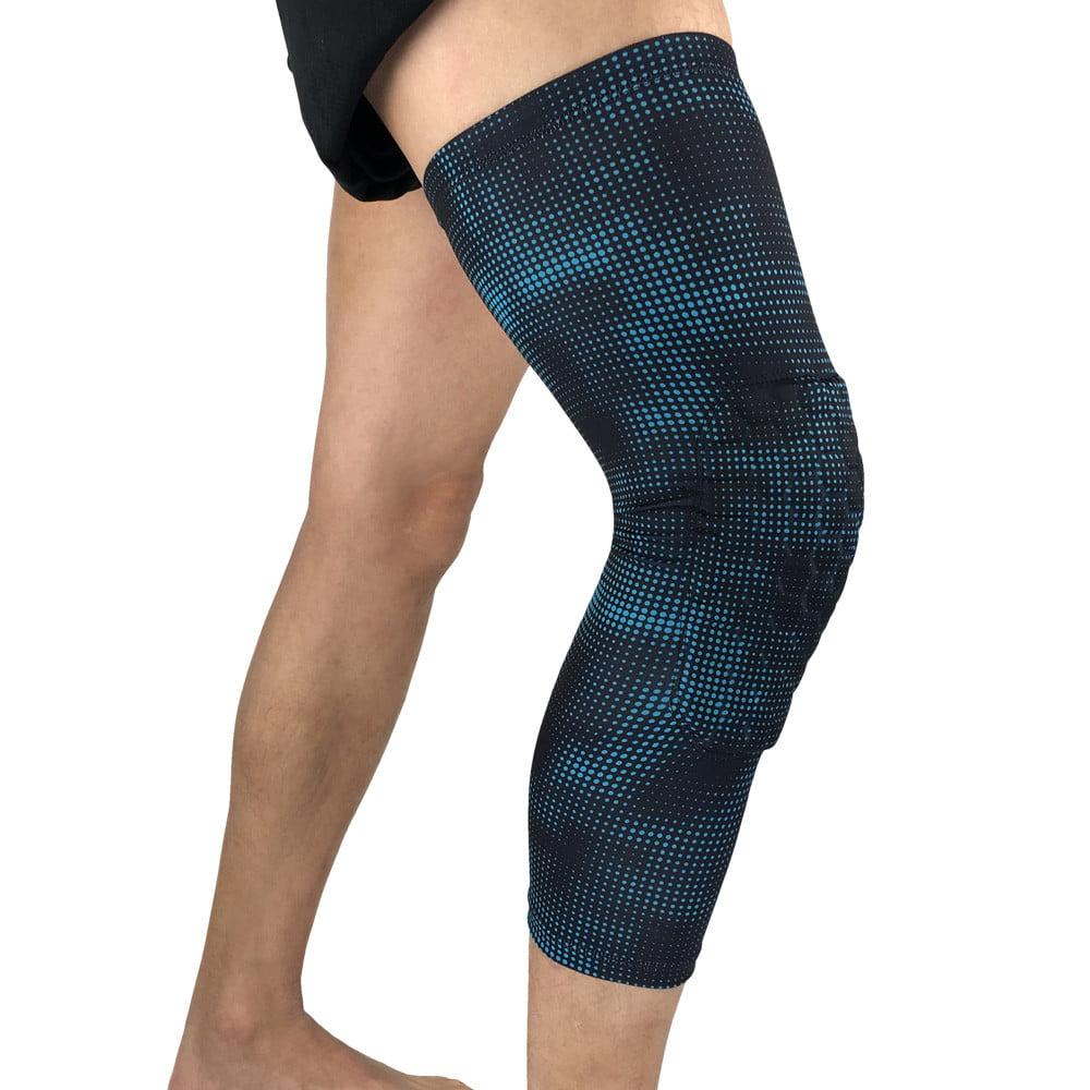 Mosunx Breathable Men Honeycomb Long Basketball Knee Pads Leg Sleeve